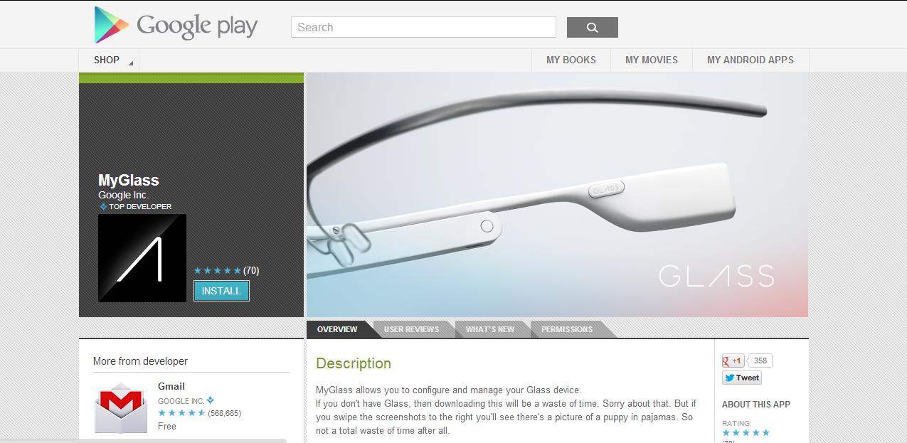 google play myglass app